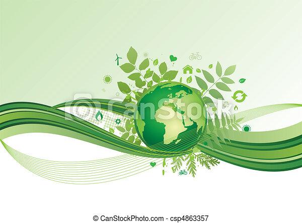 ziemia, środowisko, zielony, ba, ikona - csp4863357