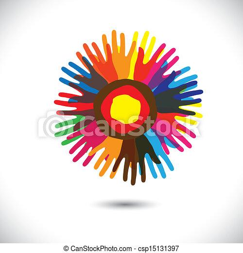 zjednoczony, ludzie, uniwersalny, współposiadanie, flower:, reputacja, ikony, concept., braterstwo, szczęśliwy, barwny, wyobrażenia, ilustracja, ręka, płatki, jedność, porcja, graficzny, to, etc, wektor, drużyna - csp15131397