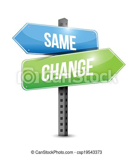 zmiana, drogowskaz, projektować, tak samo, ilustracja - csp19543373