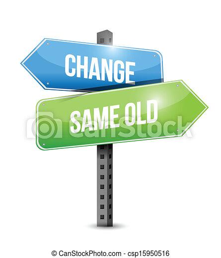 zmiana, stary, tak samo, znak, projektować, ilustracja, droga - csp15950516