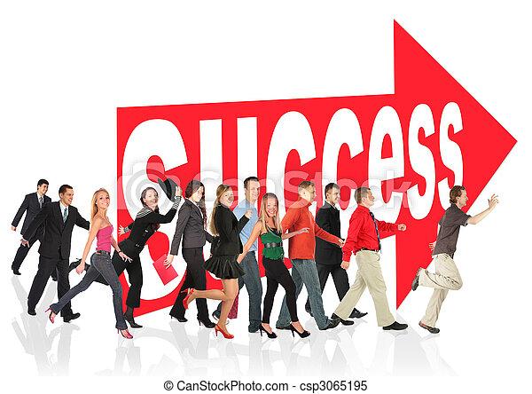 znak, ludzie handlowe, themed, powodzenie, collage, pasaż, następujący, strzała - csp3065195