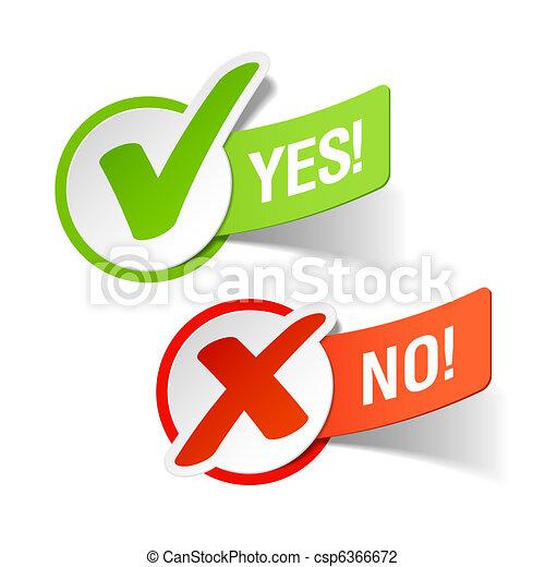 znaki, nie, tak, czek - csp6366672