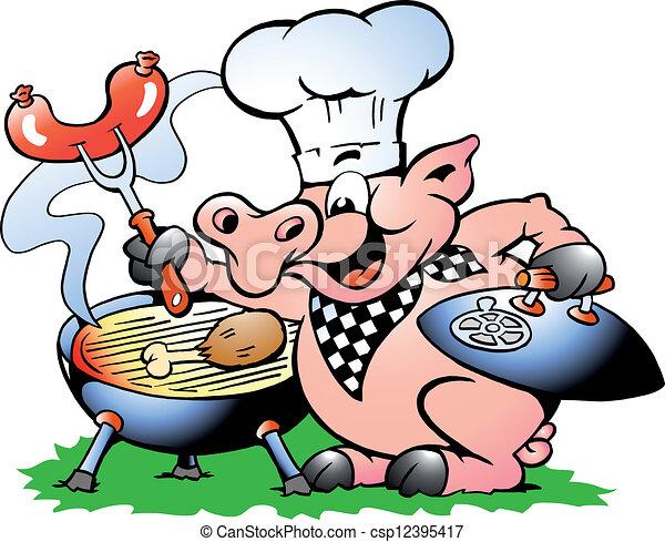 zrobienie, mistrz kucharski, bbq, reputacja, świnia - csp12395417